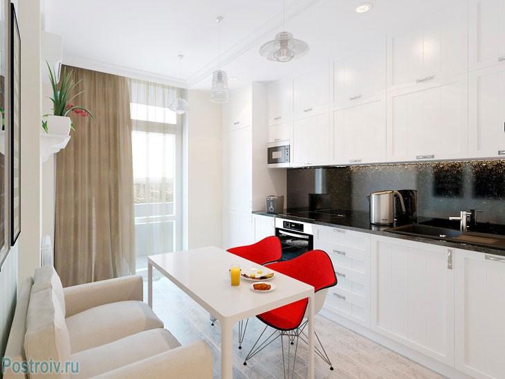 Белый и современный кухонный гарнитур в квартире 36 кв. м. Фото