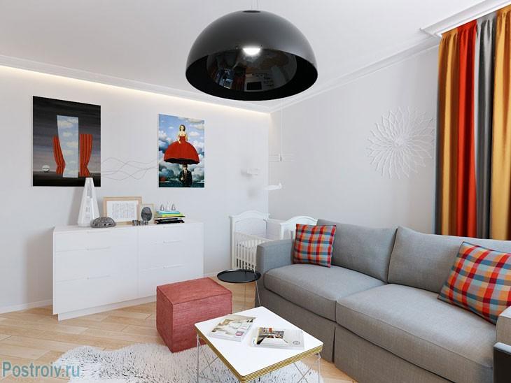 Светлый интерьер квартиры 36 кв. м. Фото