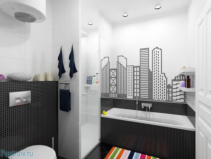 Черно-белая мозаика в ванной комнате. Фото