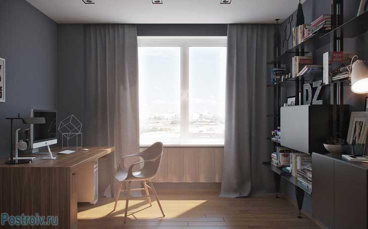 Стиль минимализм в интерьере кабинета. Фото