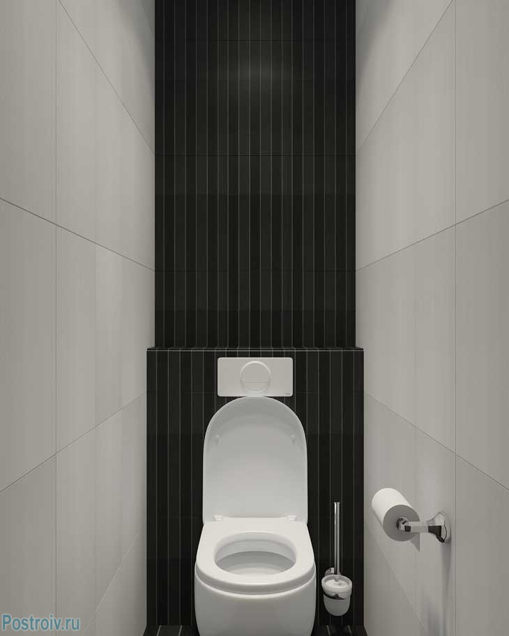 Подвесной унитаз в узком туалете - Фото