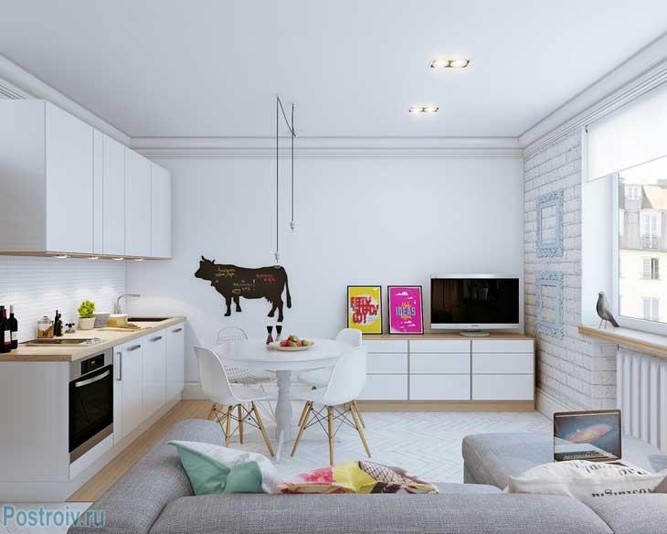 Дизайн квартиры 25 кв. м. в скандинавском стиле. Фото