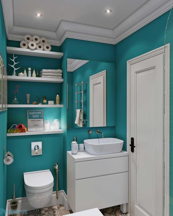 Санузел бирюзового цвета в квартире  И-155МКС. Фото