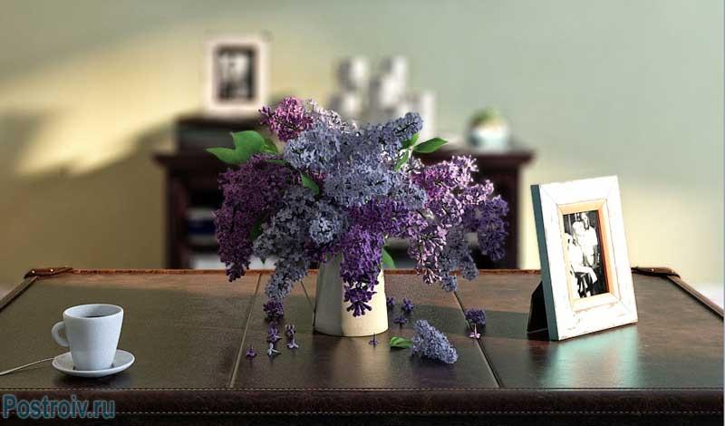 Сирень на столе в гостиной. Фото