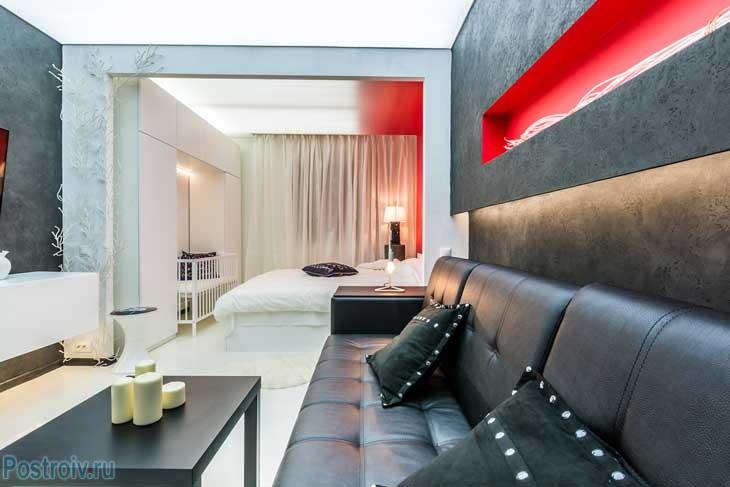 Дизайн спальни-гостиной 18 кв. м. Фото