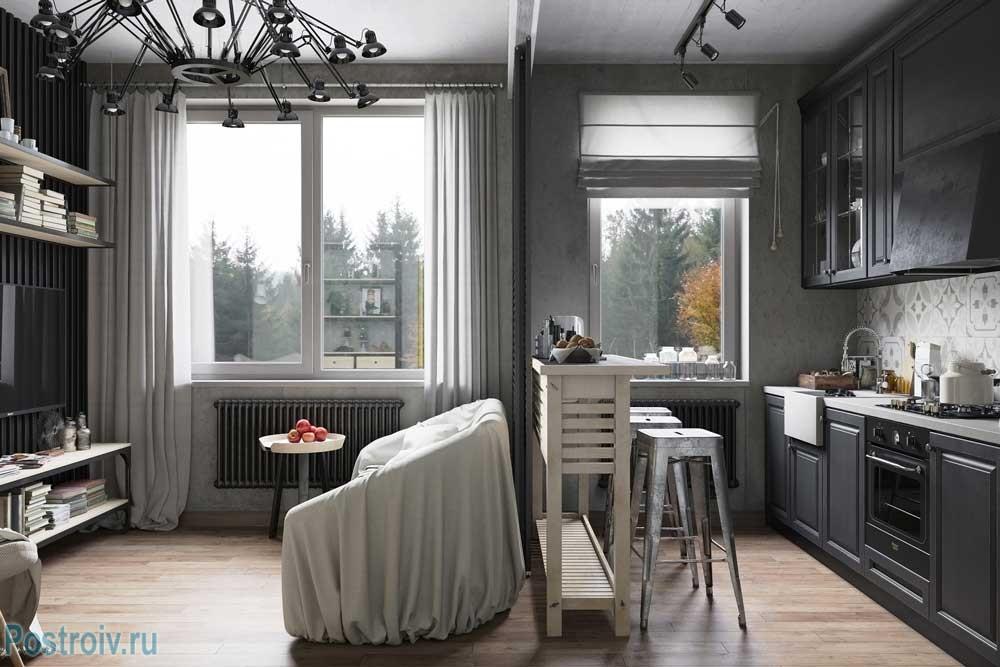 Стильная кухня-гостиная. Фото