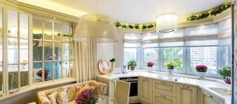 Дизайн кухни 13 кв. м. с эркером в стиле прованс