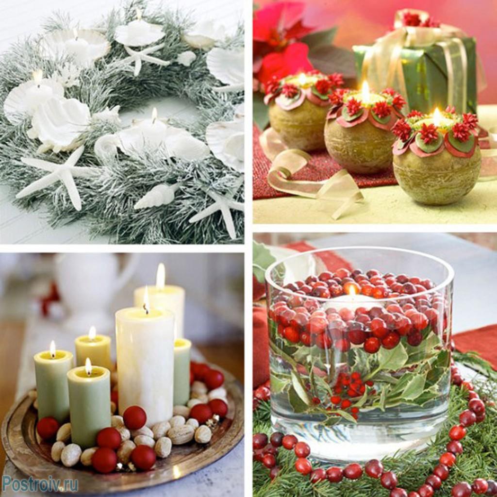 украшение свечами на новый год