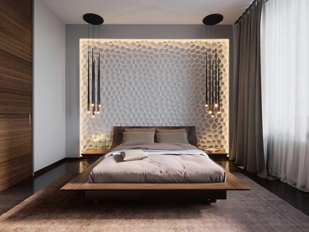 Модный дизайн спальни 2019: паркет на стенах, графические постеры и картины (фото) картинки