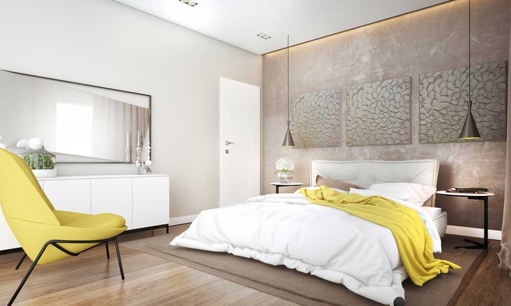 Модный дизайн спальни 2019: паркет на стенах, графические постеры и картины (фото)