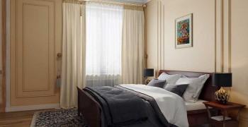 Спальная комната 17 кв. м. в классическом стиле. 4 варианта: Фото