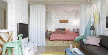 Способы зонирования комнаты на спальню и гостиную