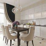 Идея дизайна кухни гостиной в стиле американской неоклассики