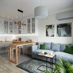 Кухня-гостиная с барной стойкой