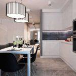 Кухня гостиная с биокамином