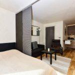 Пример зонирования комнаты на гостиную и спальню с помощью занавеса