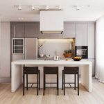 Прямоугольная гостиная-кухня
