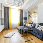 Современная гостиная в желтых оттенках