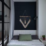 Спальня гостиная со стеклянной перегородкой в скандинавском стиле