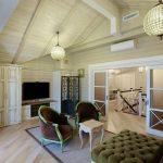 Интерьер дома из бревна в английском стиле