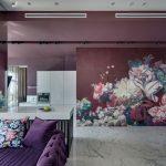 Дизайн гостиной в фиолетовых тонах
