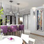Фиолетовая мебель в студии