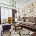 Фиолетовый и коричневый в гостиной
