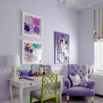 Интерьер с фиолетовыми стенами