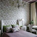 Фиолетово-зеленый дизайн спальни