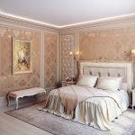 Кровать в спальне классического стиля