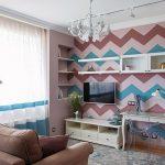 Фиолетовый дизайн гостиной