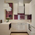 Фиолетовая кухня в студии