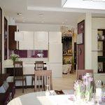 Фиолетовый интерьер в квартире-студии