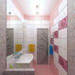 Розовая ванная комната в современном стиле