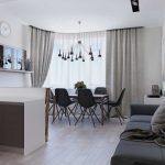 Скандинавский проект гостиной-кухни с серым диваном