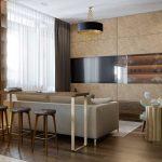 Гостиная-кухня с бежевым диваном в современном стиле