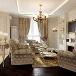 современный дизайн гостиной, совмещенной с кухней