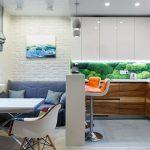 Современный дизайн кухни, совмещенной с гостиной