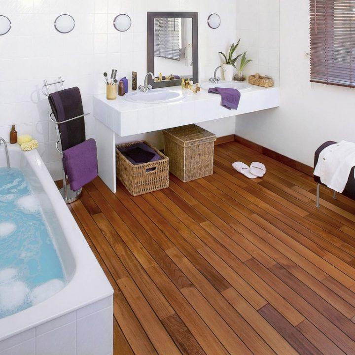 Деревянный пол — инновация для ванной