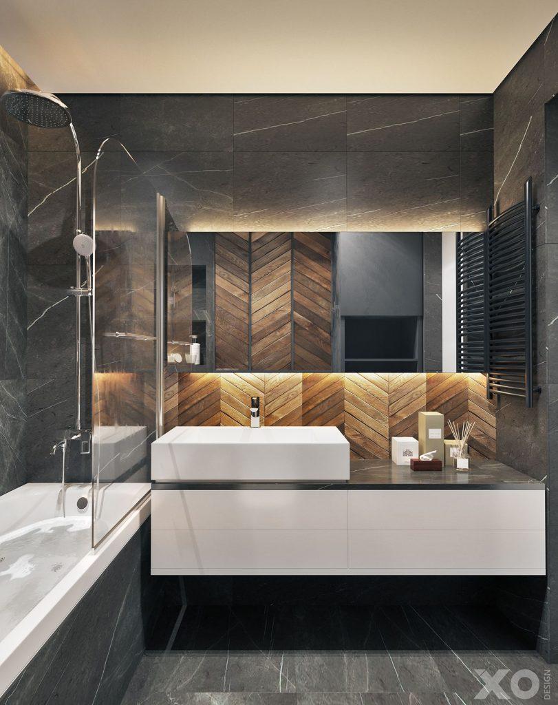 Плитка - традиционная идея для ванной