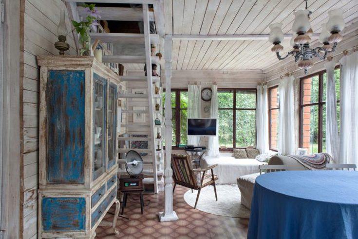 (+40 zdjęć) Интерьер садового домика