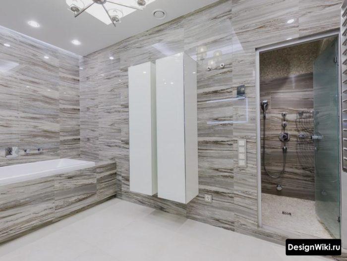 Современный дизайн ванной комнаты - шкафы для хранения
