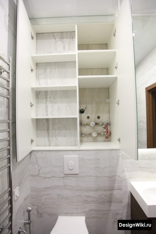 Скрытый шкаф для ванной комнаты