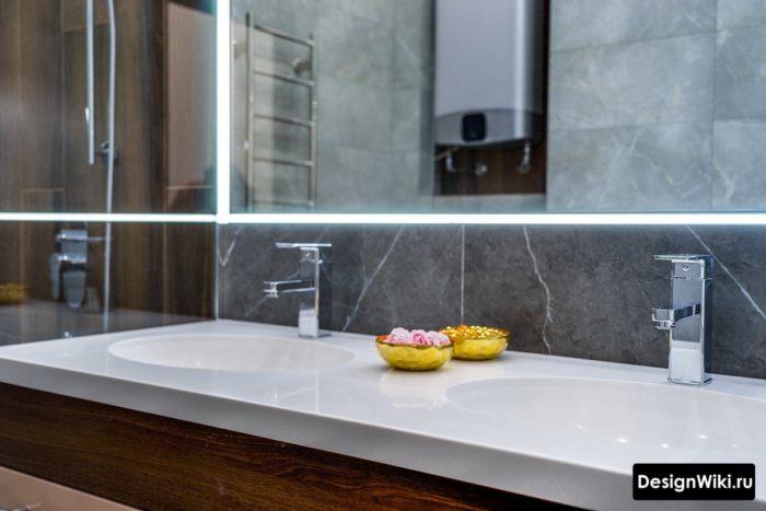 Современный дизайн столешницы для ванной комнаты