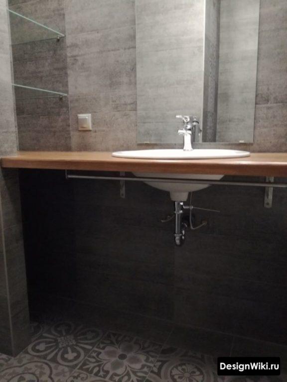 Столешница из ДСП для современной ванной комнаты