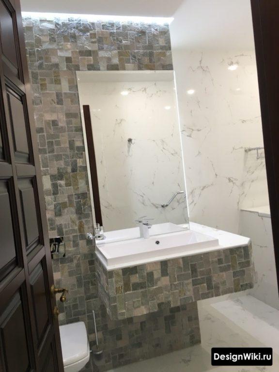 Гипсокартонная столешница для раковины в ванной комнате