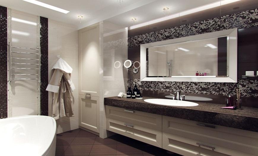 Ванная комната в стиле арт-деко.