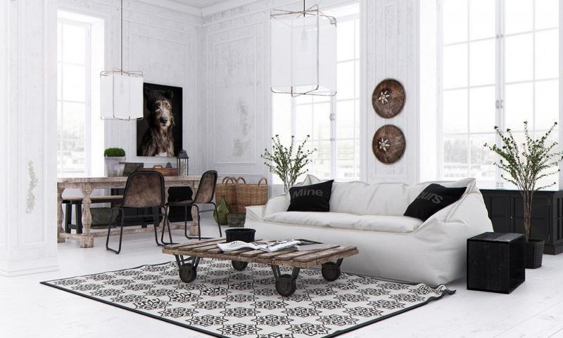Белая гостиная 18 м² 4