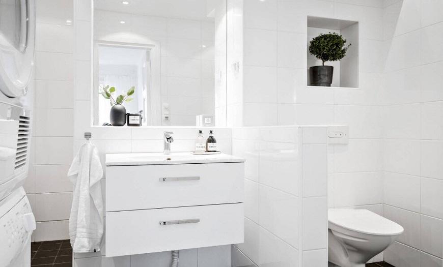 Белый цвет в интерьере ванны