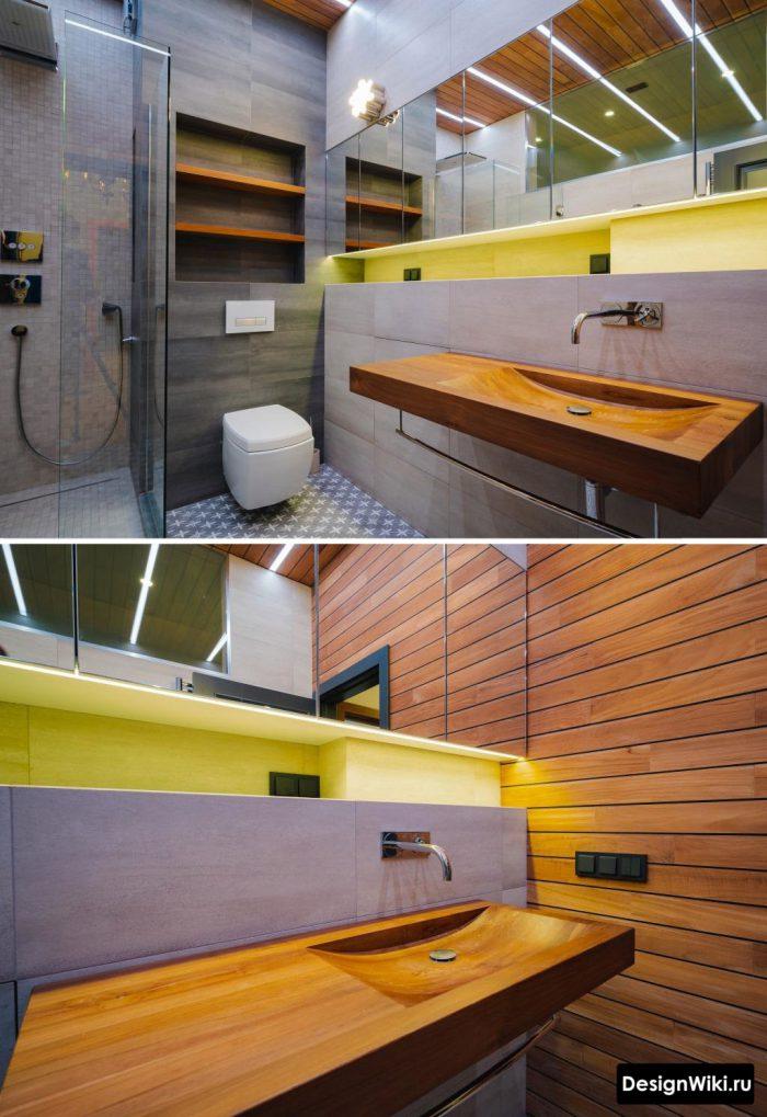 Деревянная раковина в ванной комнате